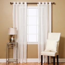 Aurora Home Sheer Faux Silk Herringbone 95-long Curtain Panel Pair