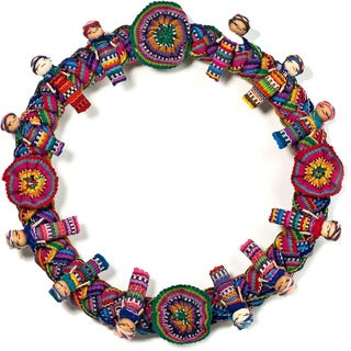 , Handmade in Guatemalan Multicolored Worry Doll Decorative Wreath , Handmade in Guatemala
