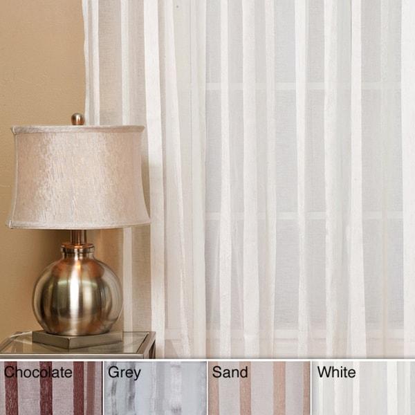 Aurora Home Sheer Faux Silk Herringbone 84-inch Curtain Panel Pair