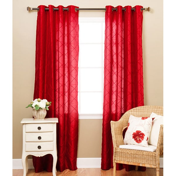 Aurora Home Faux Silk Pintuck 95-inch Curtain Panel Pair