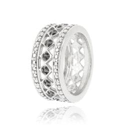 DB Designs Sterling-silver Eternity Ring with Black Diamond Accent - Thumbnail 1