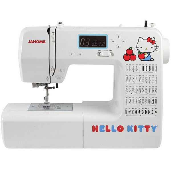 Janome 18750 Hello Kitty Computerized Sewing Machine with 50 Stitches, 3 1-step Buttonholes, Speed Control, 7-piece Feed Dogs