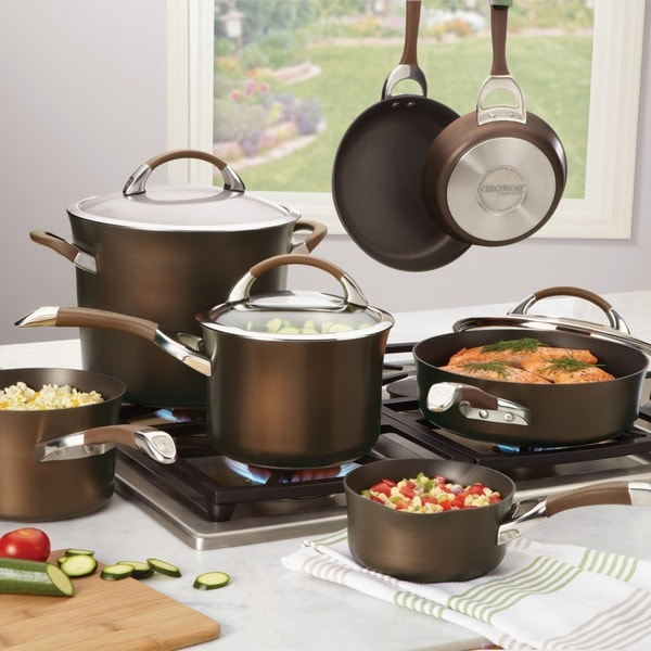 Circulon Symmetry Chocolate Hard-anodized Nonstick 11-piece Cookware Set. Opens flyout.