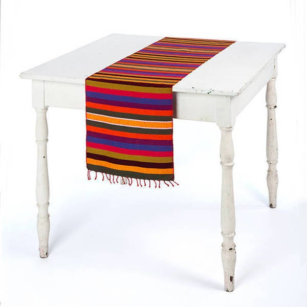 Handmade Agua Caliente Fiesta Striped Table Runner (Guatemala). Opens flyout.