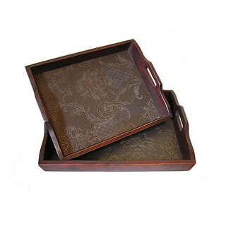 Solid Decorative Cedar Wood Food Serving Tray Set - Flower