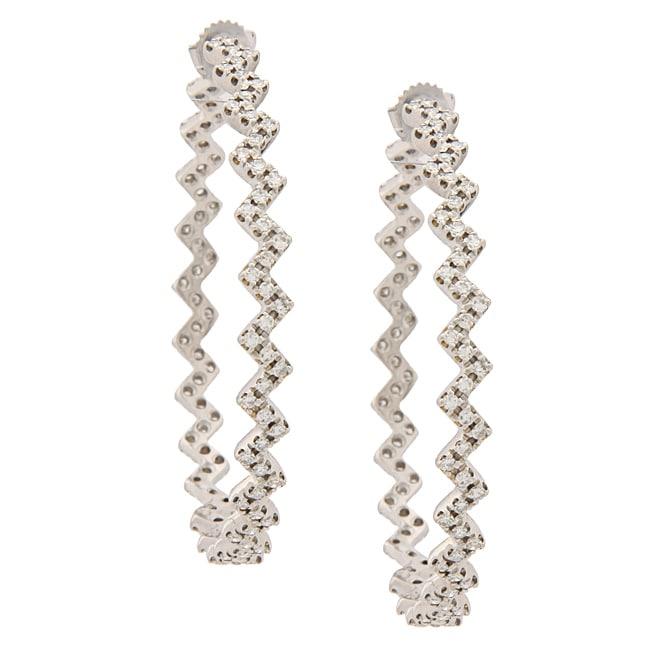 Pre Owned 14k White Gold 4 1 2ct Tdw Zigzag Hoop Earrings I J