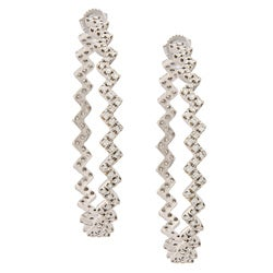Pre-owned 14k White Gold 4 1/2ct TDW Zigzag Hoop Earrings (I-J, SI1-SI2)