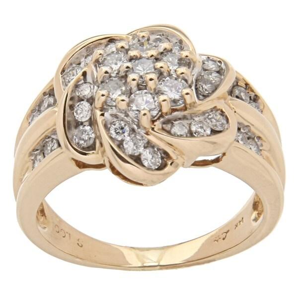 14k Yellow Gold 1 1/3ct TDW Diamond Cluster Estate Ring (H-I, I1-I2)