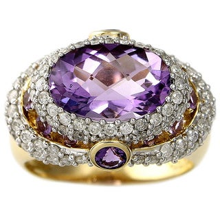 Beverly Hills Charm 14k Yellow Gold Amethyst and 1ct TDW Diamond Ring (H-I, I2)