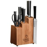 Ginsu Chikara Series Forged 9Pc Japanese Steel Knife Set – Cutlery Set w/ 420J Stainless Steel Knives, Bamboo Block