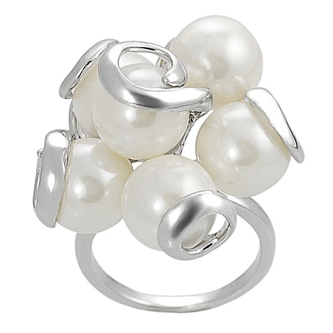 Silvertone Faux Pearl Swirl Ring