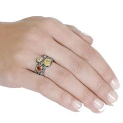 Journee Collection Silvertone Yellow, Red, and Green CZ Ring - Thumbnail 2