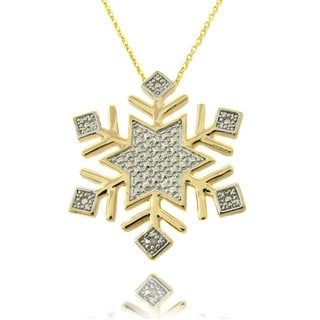 Finesque 14k Gold Overlay Diamond Accent Snowflake Necklace