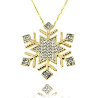 Christmas jewelry for less overstock finesque 14k gold overlay diamond accent snowflake necklace aloadofball Images