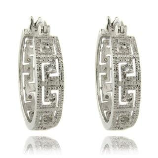 Finesque Silver Overlay 1/4ct TW Diamond Greek Key Earrings