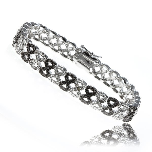 Finesque Silverplated 1/4ct TDW Black and White Diamond Bracelet