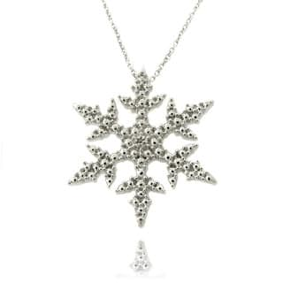 Finesque Silverplated Diamond Accent Snowflake Necklace|https://ak1.ostkcdn.com/images/products/6243457/P13883458.jpg?impolicy=medium