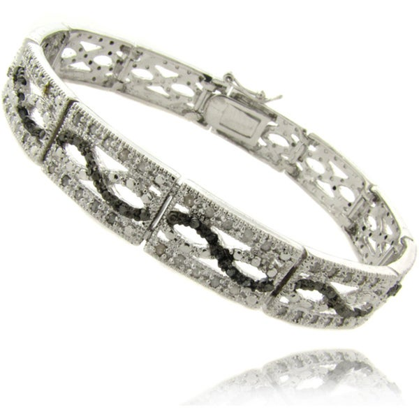 Finesque Silverplated 1ct TDW Black and White Diamond Bracelet