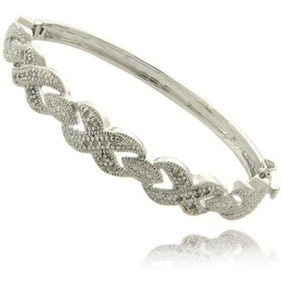 Finesque Silverplated 1/4ct TDW Diamond 'X' and 'O' Bracelet