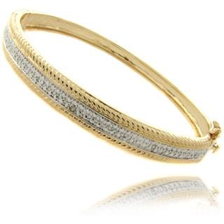 Finesque 14k Gold Overlay Diamond Accent Bangle Bracelet