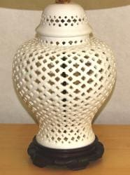 Crown Lighting 1-light Openwork White Lace Large Porcelain Table Lamp - Thumbnail 1