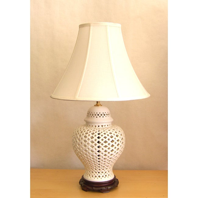 Merveilleux Crown Lighting 1 Light Openwork White Lace Large Porcelain Table Lamp