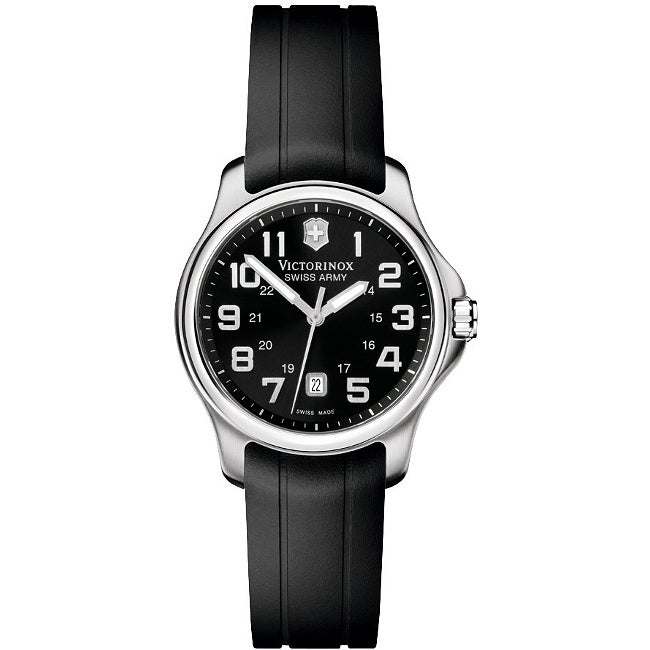 Victorinox Swiss Army Women's 'Officer's' Stainless Steel Black Dial Rubber Strap Watch