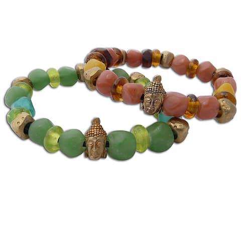Goldtone Recycled Glass Buddha Head Mala Bracelet