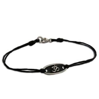 Handmade Sterling Silver Cotton 'Om' Bracelet (Thailand)