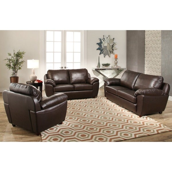 Abbyson Sedona 3 Piece Premium Top Grain Leather Sofa
