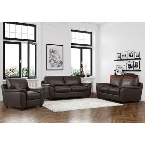 Abbyson Sedona Top Grain Leather 3 Piece Living Room Set