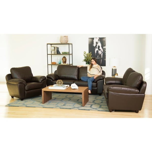 Abbyson sedona top grain leather 3 piece living room set for Abbyson living sedona leather chaise recliner
