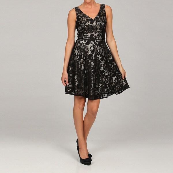 Tahari Women S Black Lace V Neck Dress Free Shipping On