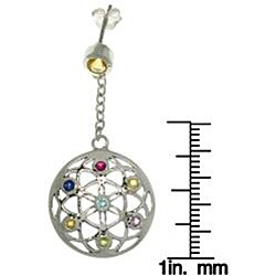 Carolina Glamour Collection Sterling Silver Flower of Life Earrings - Thumbnail 2