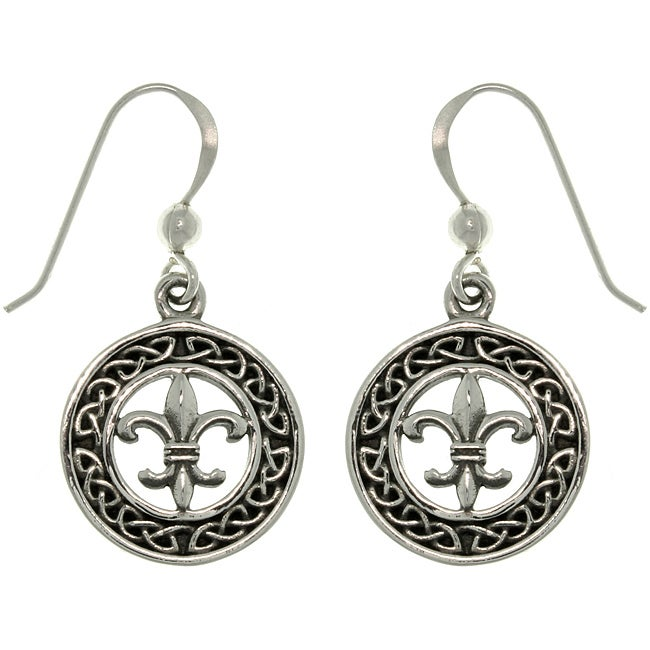 Carolina Glamour Collection Sterling Silver Celtic Knot Fleur De Lis Earrings