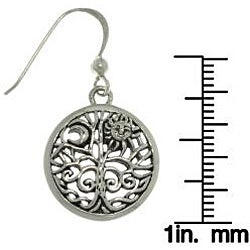 Carolina Glamour Collection Sterling Silver Moon and Sun Tree of Life Earrings - Thumbnail 2