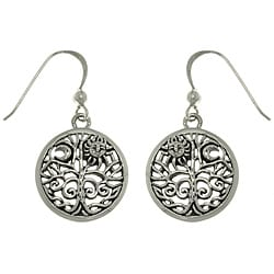 Carolina Glamour Collection Sterling Silver Moon and Sun Tree of Life Earrings