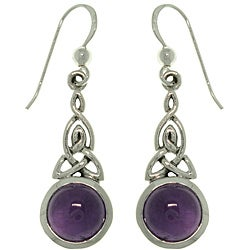 Carolina Glamour Collection Sterling Silver Amethyst Celtic Triquetra Knot Earrings