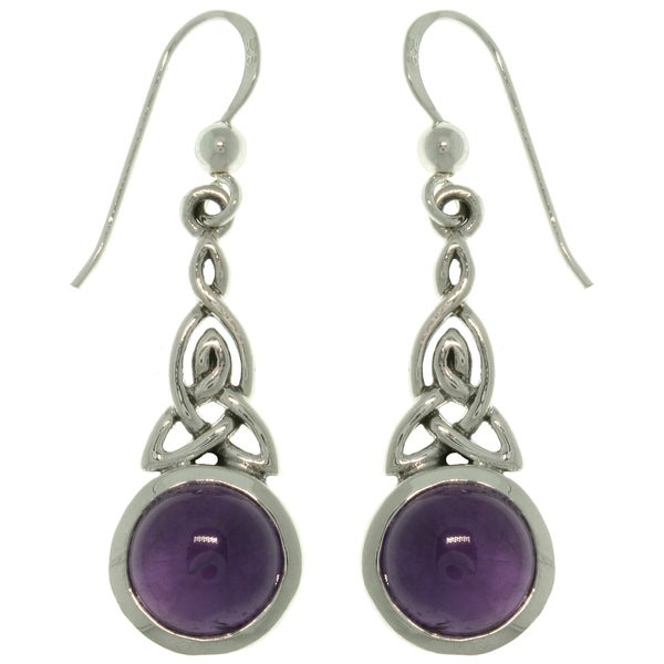 Sterling Silver Amethyst Celtic Triquetra Knot Earrings - Brown