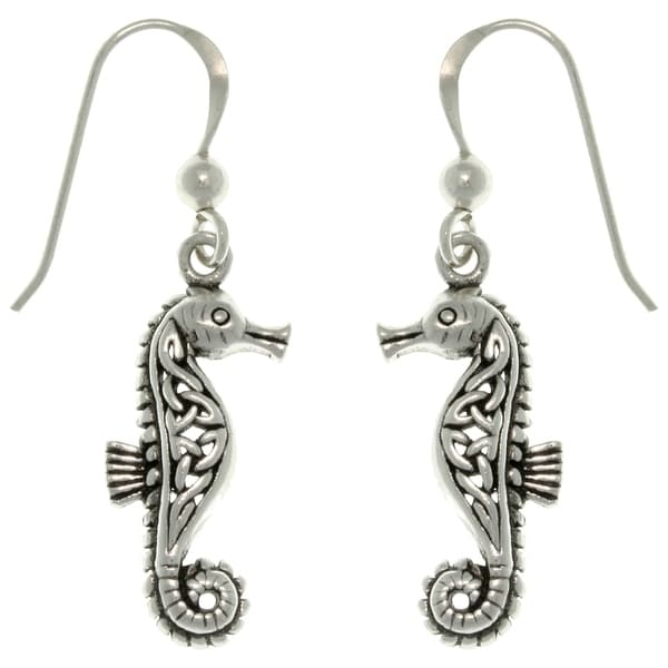 Sterling Silver Celtic Seahorse Earrings