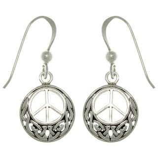 Sterling Silver Celtic Peace Sign Earrings