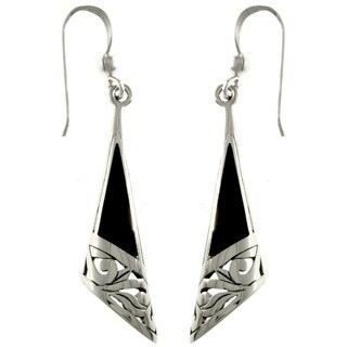 Sterling Silver Black Onyx Filigree Earrings