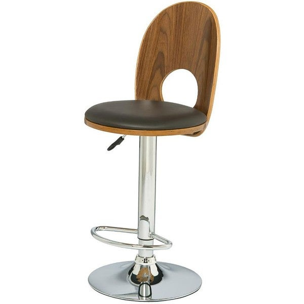 Walnut Espresso Mousehole Adjustable Swivel Stool Set Of
