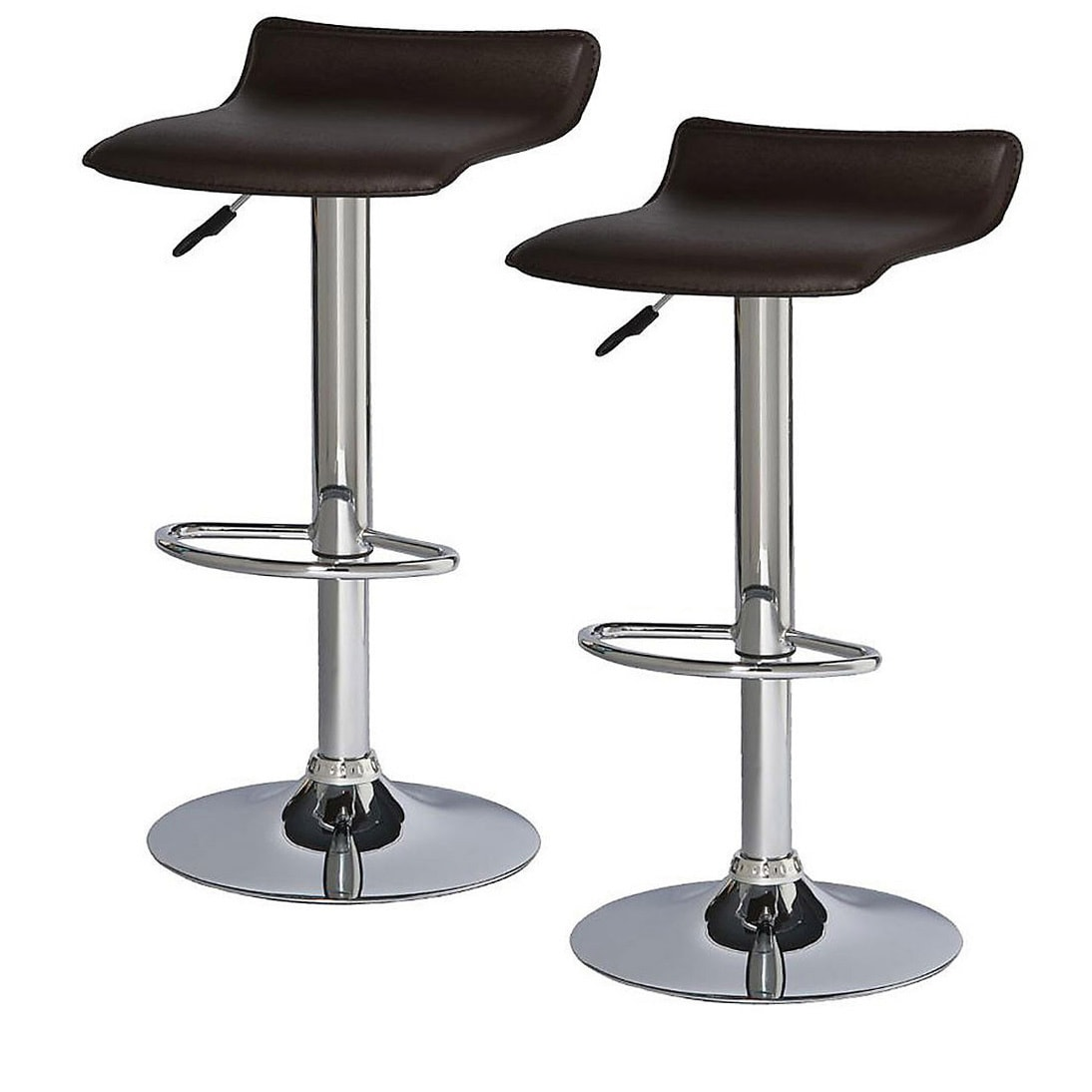 Adjustable Height Faux Leather And Chrome Swivel Stool Set Of 2 Overstock 6246139