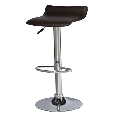 Adjustable Height Faux Leather and Chrome Swivel Stool (Set of 2)