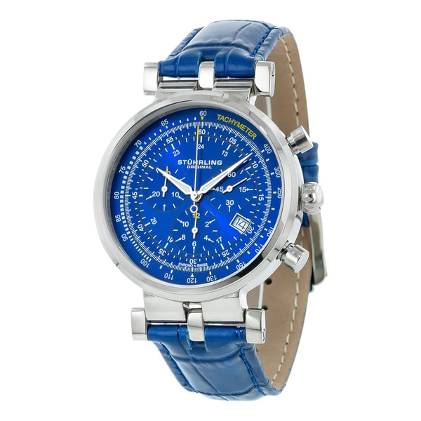 Stuhrling Original Men's Trackmaster Quartz Chronograph Watch with Blue Leather Strap