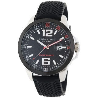Stuhrling Original Men's Monterey Bay Swiss Quartz Watch with Black Silicone Rubber Strap