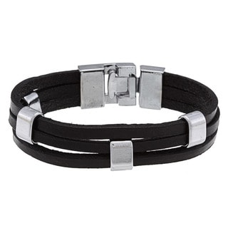 Nexte Jewelry Silvertone Black Leather Bracelet