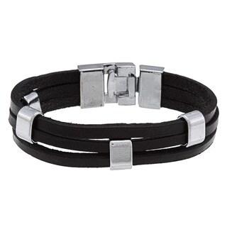 Nexte Jewelry Silvertone Black Leather Bracelet