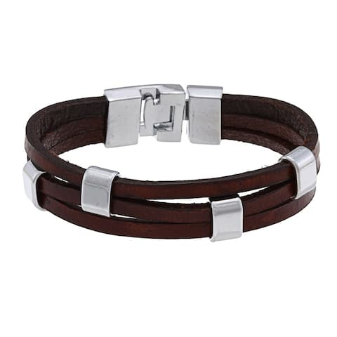 Nexte Jewelry Silvertone Brown Leather Bracelet (8 1/2 inches)